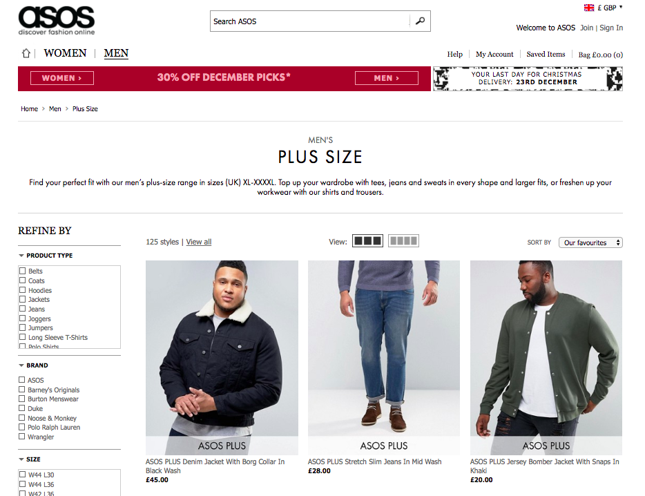 ASOS Plus Size Male Range