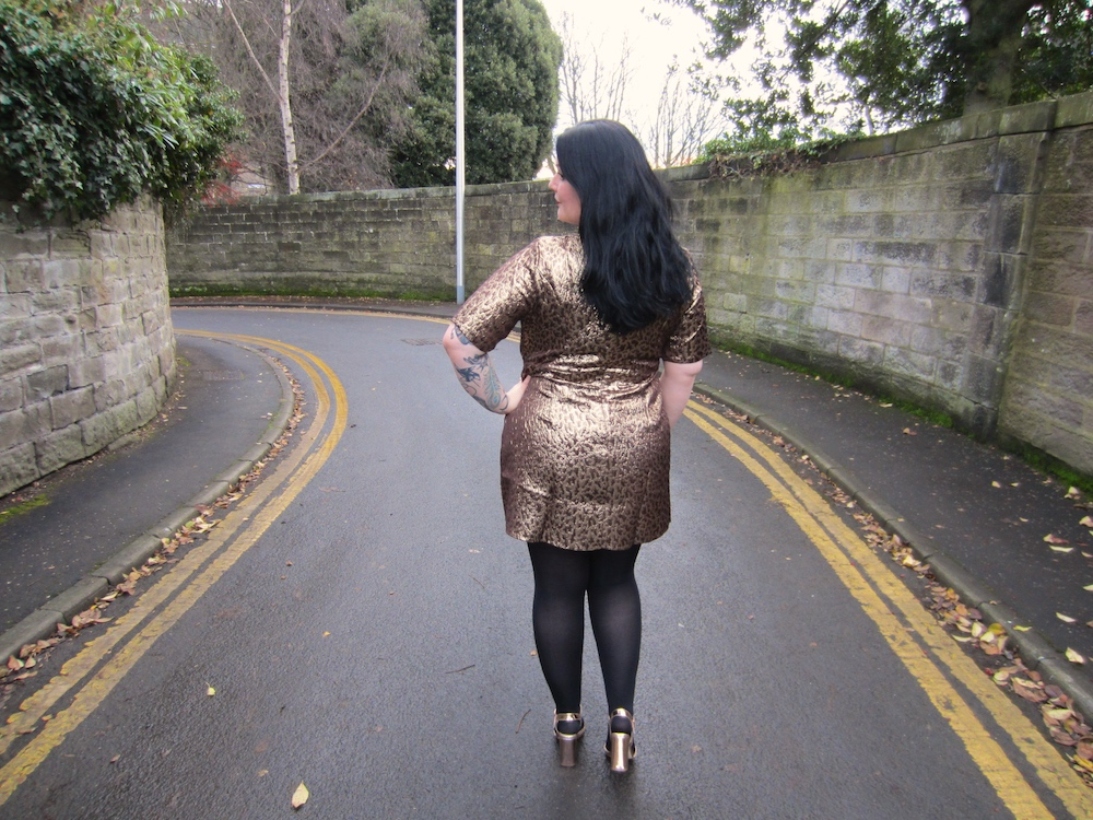 Plus Size Gold Metallic Shift Dress and Wide Fit Heels
