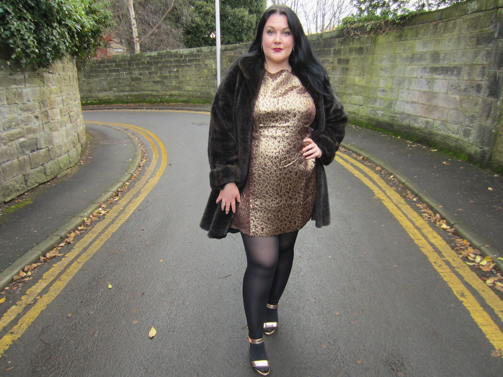 Plus Size Metallic Shift Dress and Faux Fur