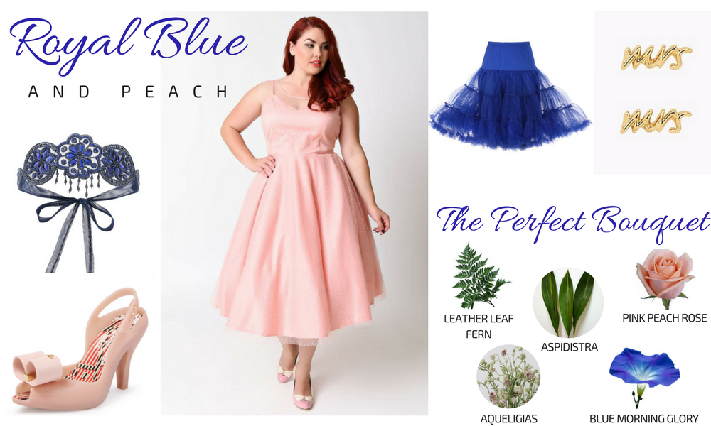 Blue & Peach Plus Size Bridal Look Gatsby Wedding