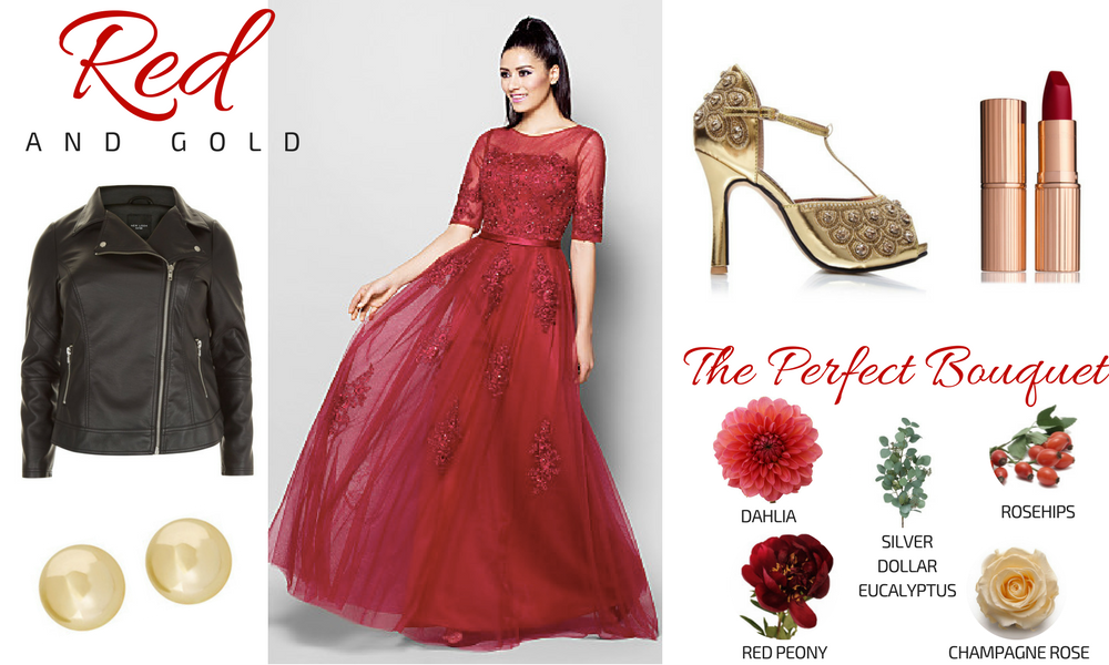 Red & Gold Plus Size Bridal Look Gatsby Wedding