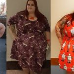 new dress, Debz, size 32, wearing various colourful dresses in bold, playful prints