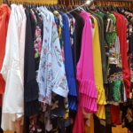 Rail of bright, colourful, and different prints from topsy curvy