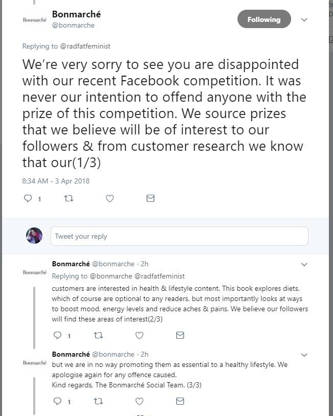 twitter thread of an apology from bonmarche